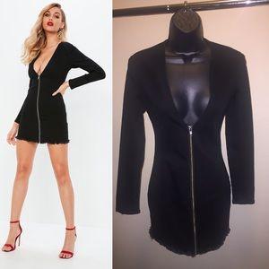 Missguided Black Denim Frayed Hem Mini Dress